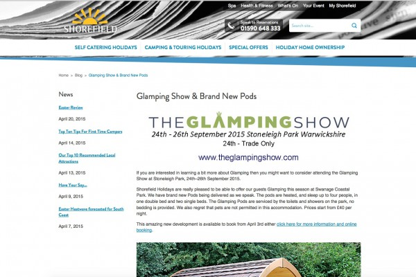 Shorefields promote the Glamping Show
